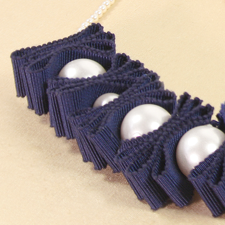 Pearl & Chromspun Ribbon Necklace Up Close