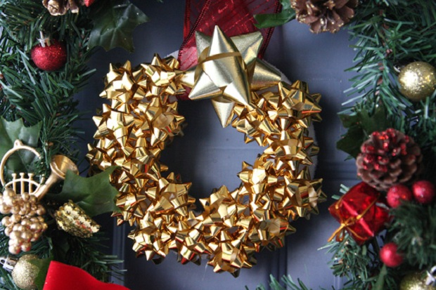 4 DIY gift bow christmas wreath