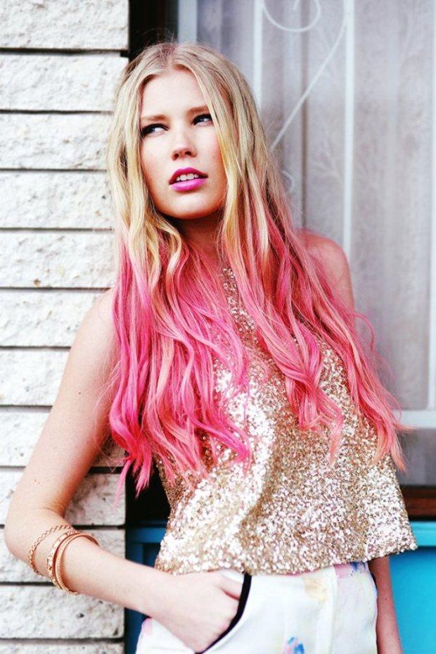 pink dip-dyed hair-f78299