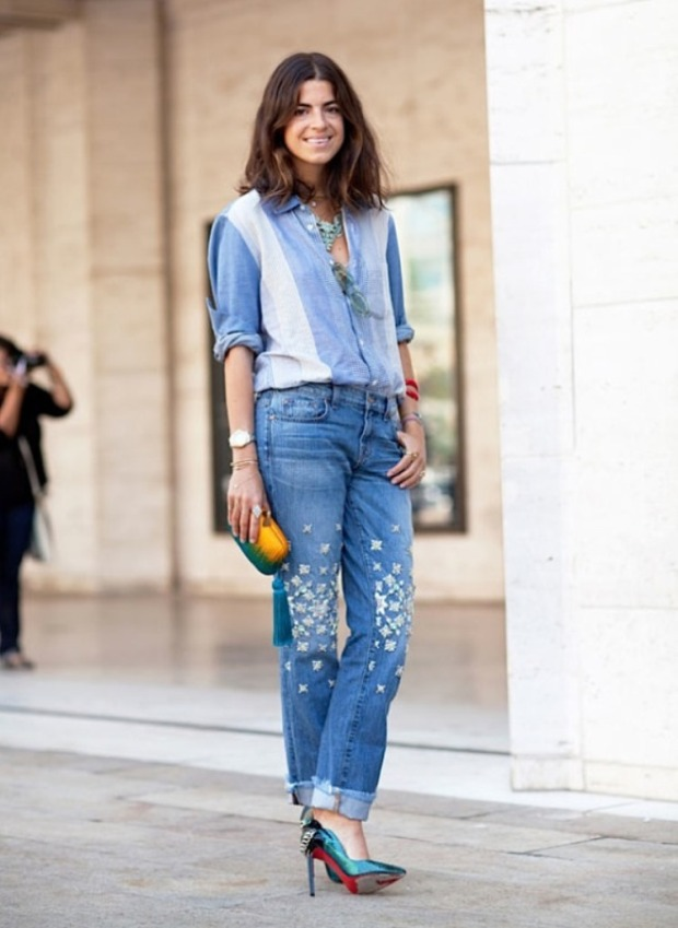 street-style-fashion-week-blogger-style-leandra-medine-man-repeller-denim-on-denim-canadian-tuxedo-chambray-shirt-patchwork-rhinestone-studded-jeans-cuffed-rolled-ankle-louboutin-heels-p