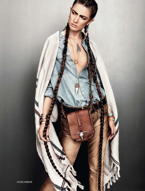 Braided Western Beauty with Denim Shirt