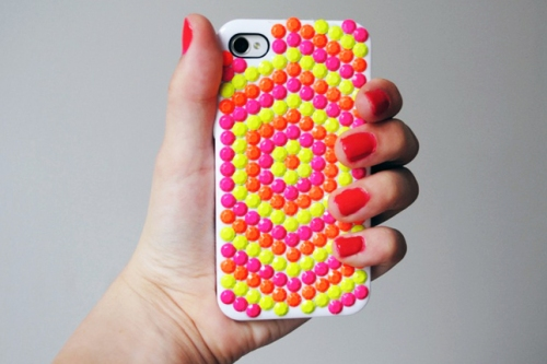 DIY NEON STUD IPHONE CASE