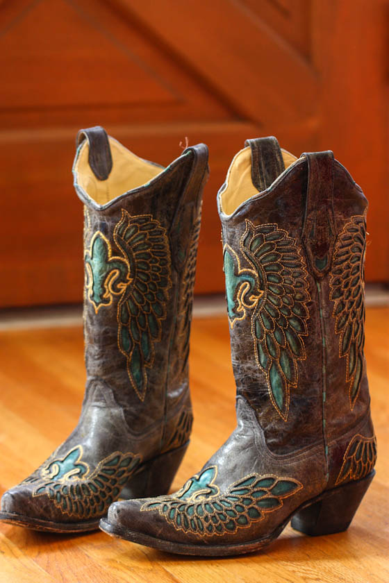 Leather Cowboy Boots with Gold Embroidery and Teal Cutouts