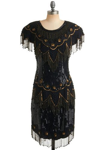 Black and Gold Bead Fringe Dress