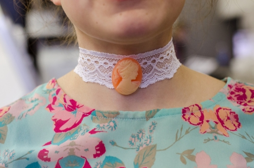 Cameo Button on Lace Choker Necklace