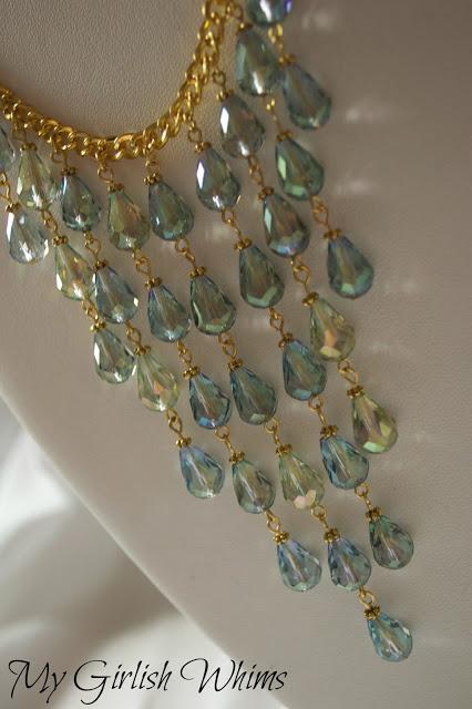 Gold and Aqua Bib Necklace