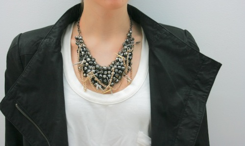 Punk Goth Statement Necklace with Safety Pins