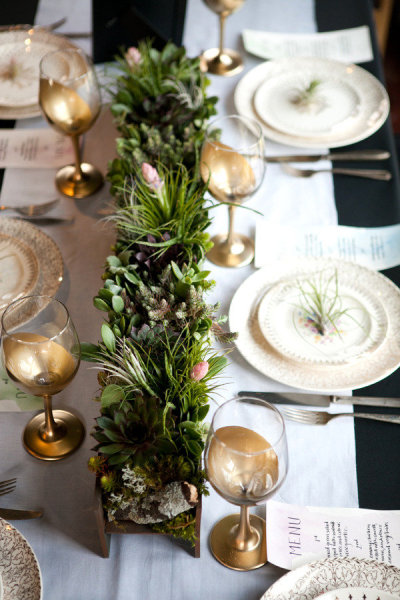 Succulent Centerpiece from Style Me Pretty