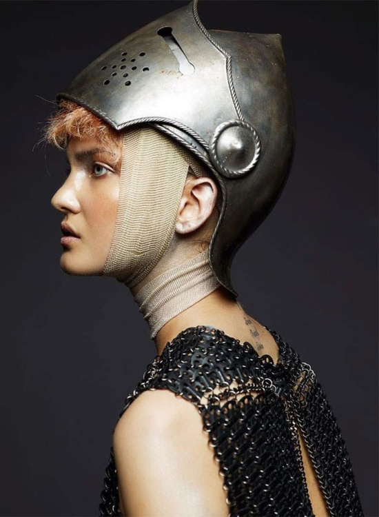 Knight Helmet and Chain Mail Editorial