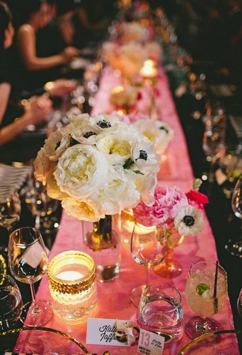 Pink Party Table with Peonies from Daily Crush