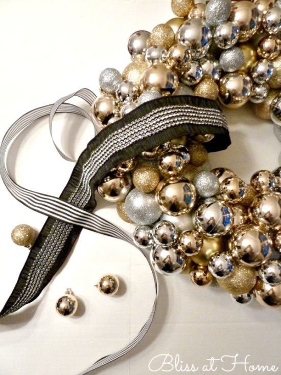 Gold and Silver Ornament Wreath from Bliss at Home