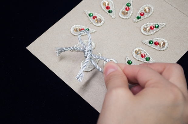 DIY Rustic Lace and Rhinestone Holiday Cards | M&J Trimming