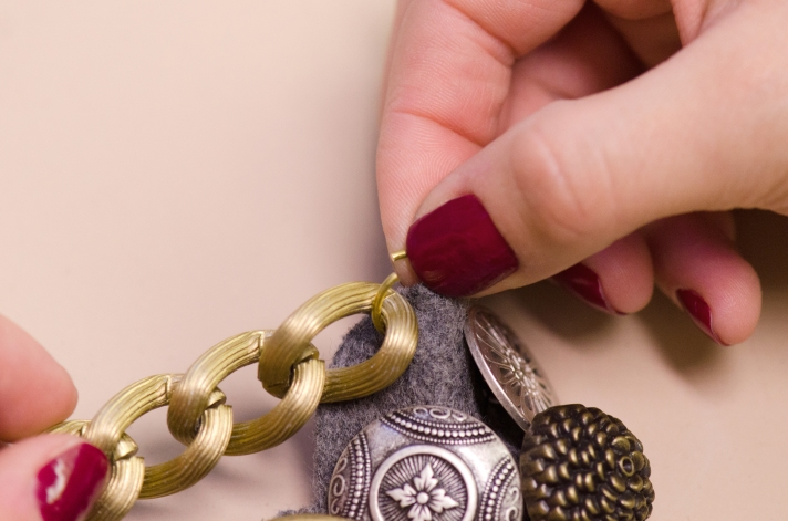 Attaching Jump Ring for Button Statement Necklace | M&J Trimming