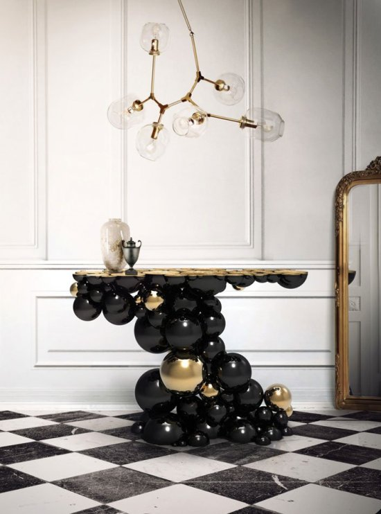 Newton Black and Gold Dining Table from Boca Do Lobo