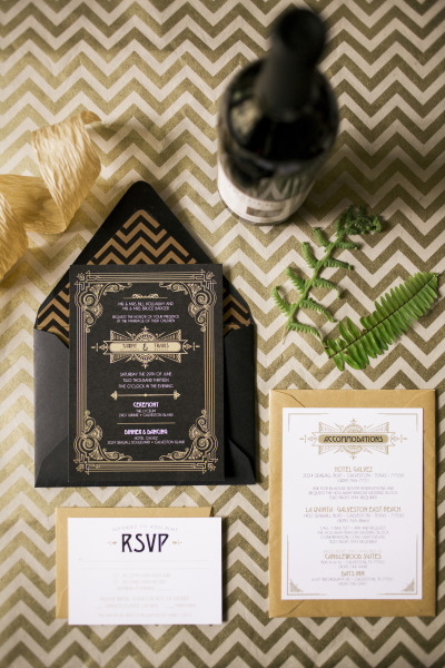 Black and Gold Invitations from Minted