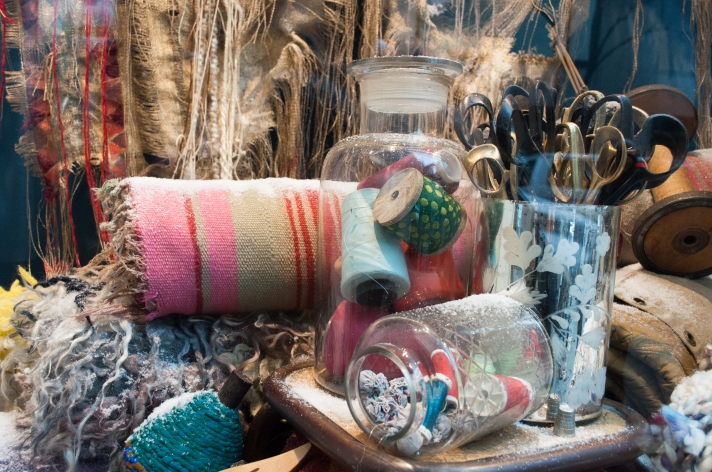 Anthropologie Holiday Spools Window