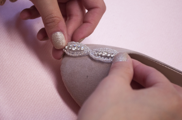 Gluing Rhinestone Trim for Nutcracker-Inspired Flat