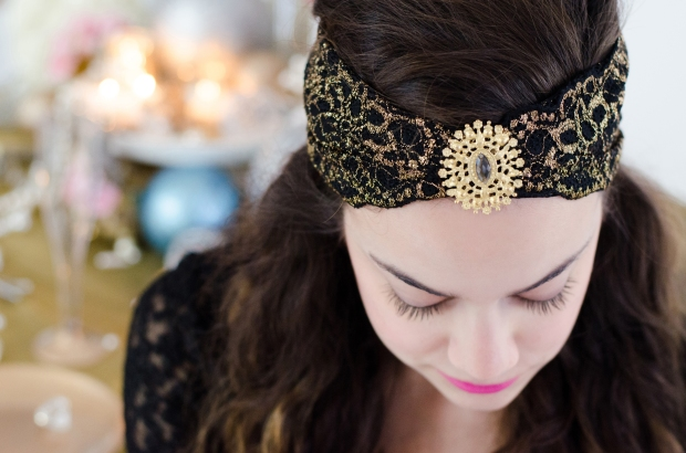 Project DIY Gem and Lace Headband