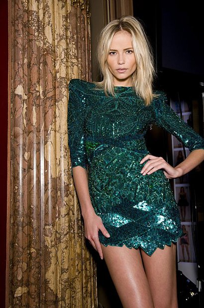 Balmain Green Sequin Minidress