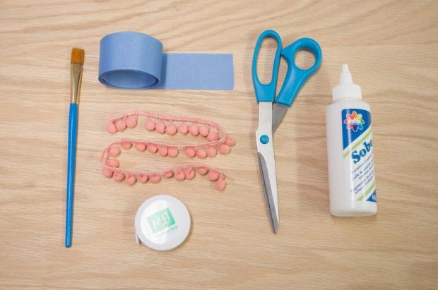 Baby Blue Pom Pom Bookmark Materials