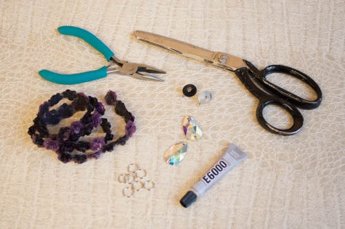 Sequin and Stone Drop Earrings Materials