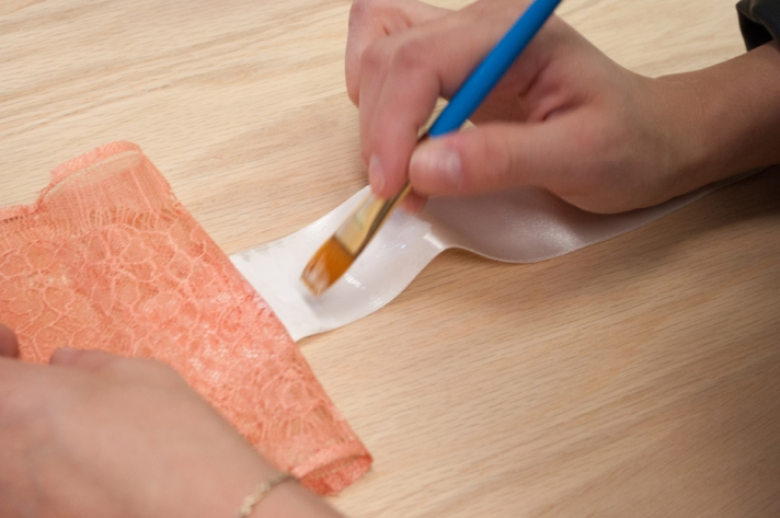 Coral Lace Bookmark Gluing Satin and Lace