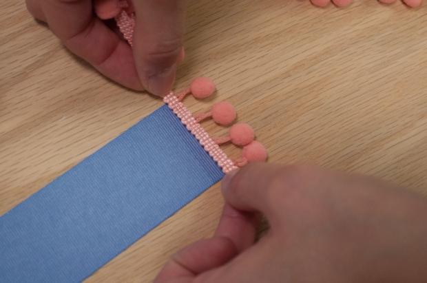 Baby Blue Pom Pom Bookmark Measuring Pom Pom Trim