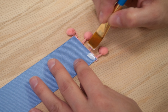 Baby Blue Pom Pom Bookmark Gluing Pom Pom Trim