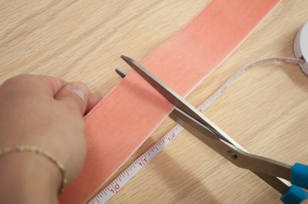 Coral Velvet Bookmark Cutting Velvet Ribbon