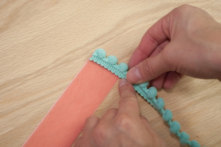 Coral Velvet Bookmark Measuring Pom Pom Trim
