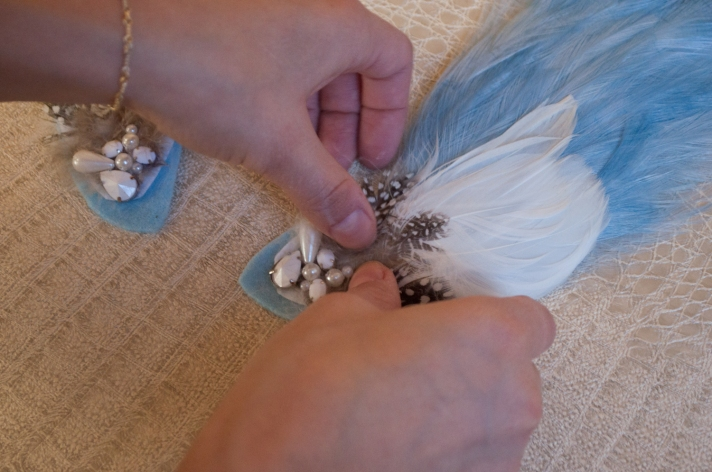 Positioning Embellished Feathers on Collar Ends