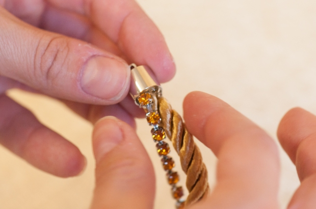 Gluing Rhinestone Chain and Cord Into End Clasp