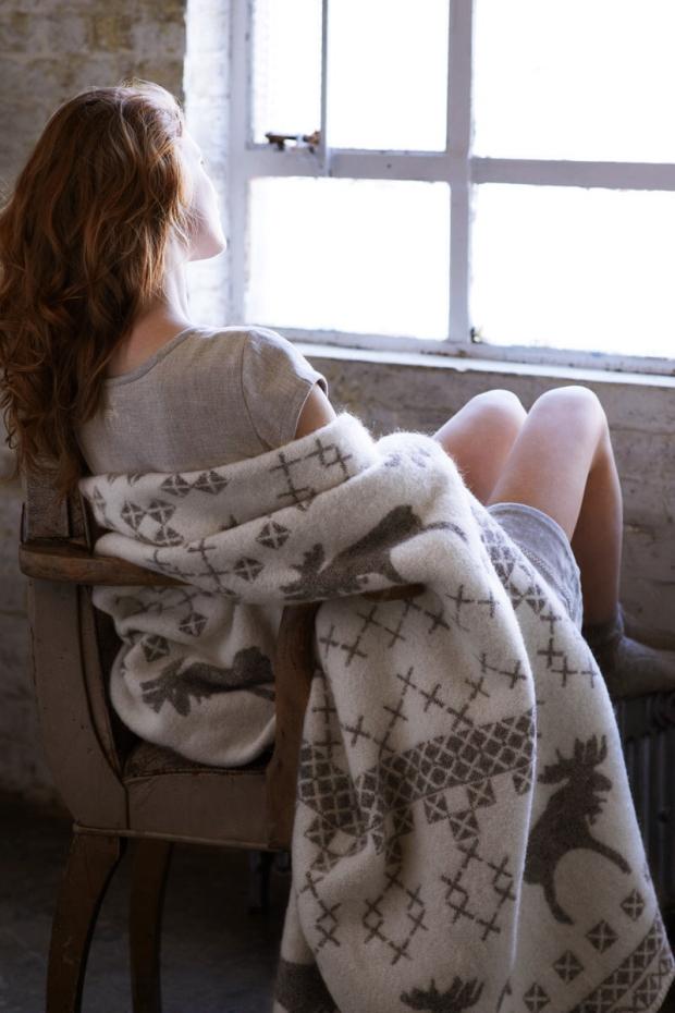 Wool Moose Print Blanket