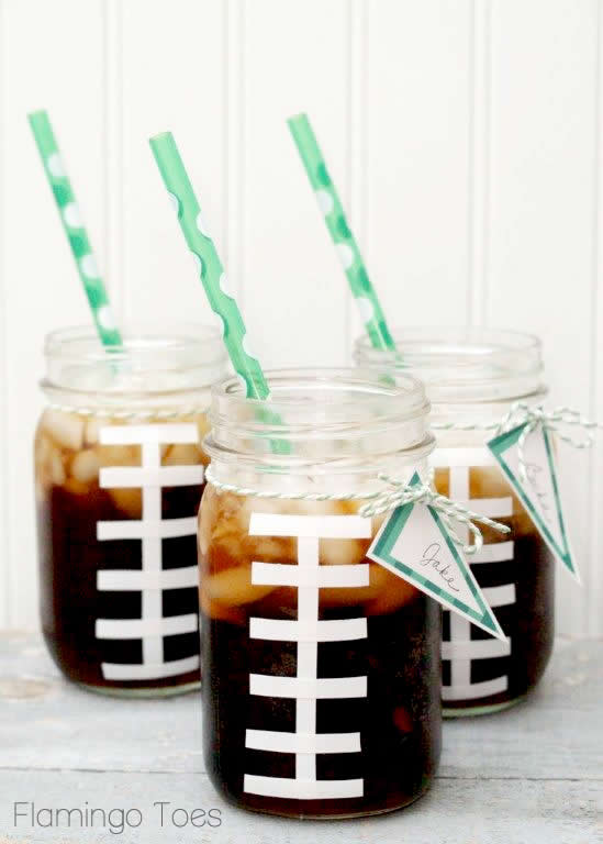 Football Mason Jars from Flamingo Toes