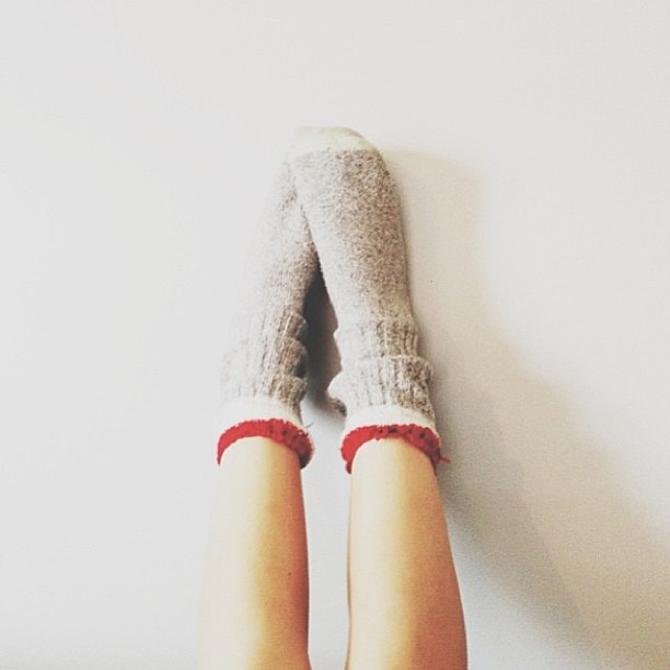 Wool Socks with Red Band
