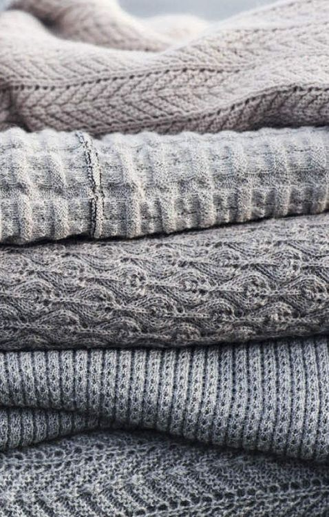 Pile of Gray Sweaters