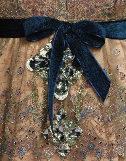 Velvet Belt on Embroidered Dress