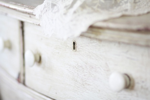 Lace on Rustic Dresser