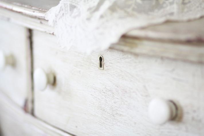 Lace on Rustic Dresser