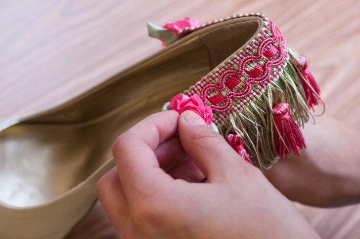 Gluing Rosette Trim to Side of Shoe