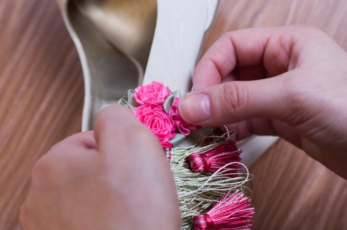 Gluing Rosettes to Side of Shoe