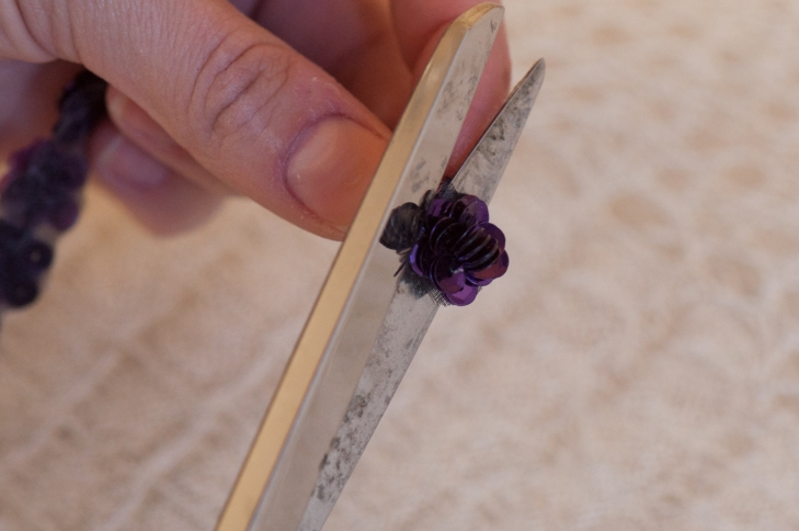 Cutting Sequin Flower Trim