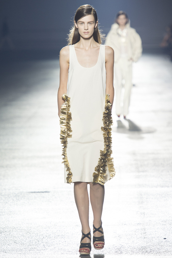 Dries van Noten White Dress with Gold Details