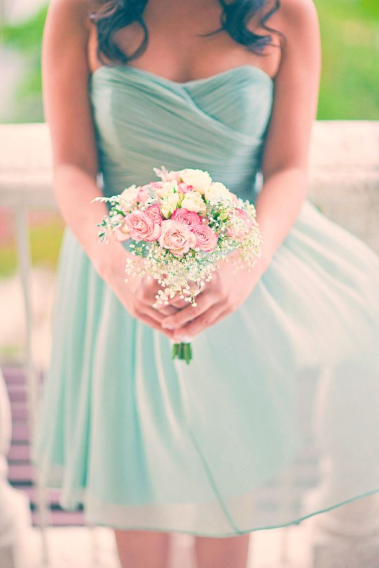 Mint Green Bridesmaid Dress with Pink Bouquet