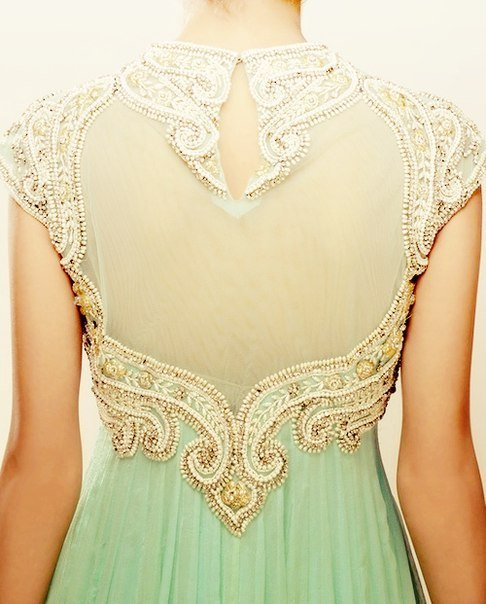 Mint Green Dress with Embellished Back