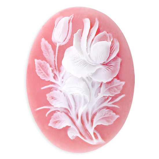 40MM X 30MM ROSE AND LEAF OVAL CAMEO