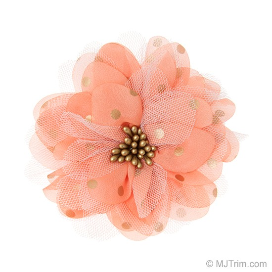 "4"" POLKA DOT WITH TULLE FLOWER PIN"