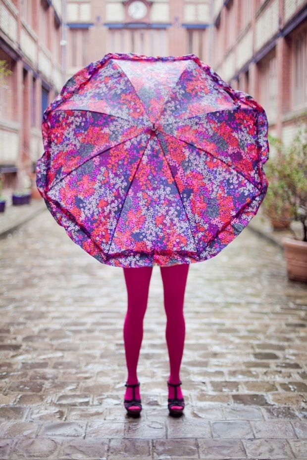 Pink and Purple Floral Umbrella