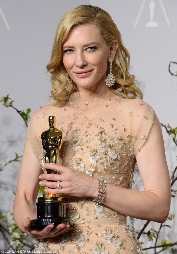 Cate Blanchett in Beige Embellished Dress