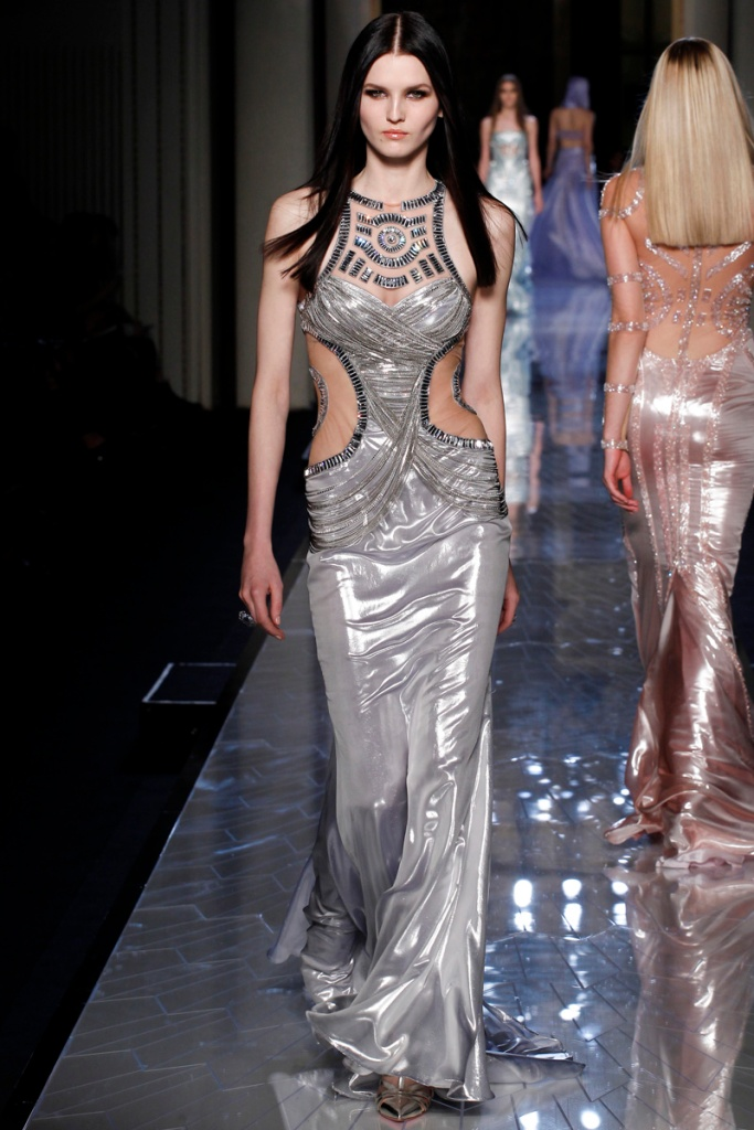 Versace Spring 2014 Metallic Silver Dress